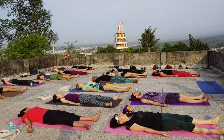 yoga nidra session in akshi yogashala