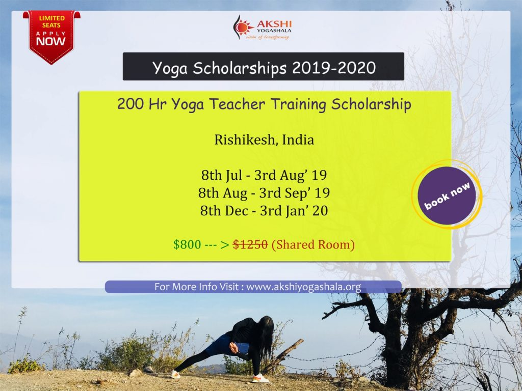 Free 200 hr yoga teacher training scholarship india 2019